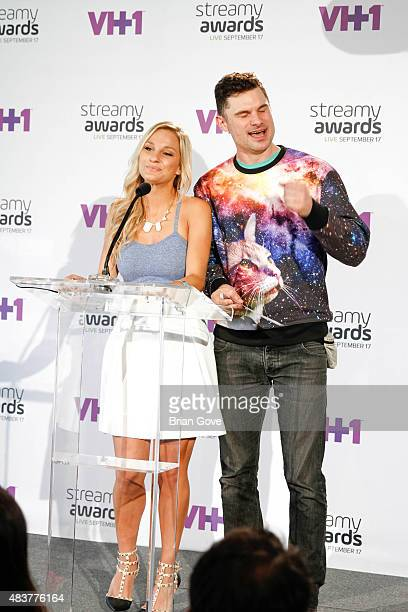 Chelsea Briggs and Flula Borg attends The 5th Annual Streamy Awards Nomination Celebration at Annenberg Community Beach House on August 12 2015 in...