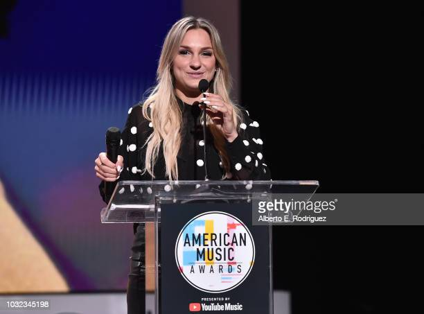Chelsea Briggs attends the 2018 American Music Awards Nominations Announcement at YouTube Space LA on September 12 2018 in Los Angeles California