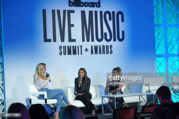 Chelsea Briggs Chantel Jeffries and Alexis Fleischer speak onstage during Billboard's 2019 Live Music summit and awards ceremony at Montage Hotel on...