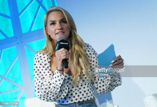 Chelsea Briggs speaks onstage during Billboard's 2019 Live Music summit and awards ceremony at Montage Hotel on November 05 2019 in Beverly Hills...