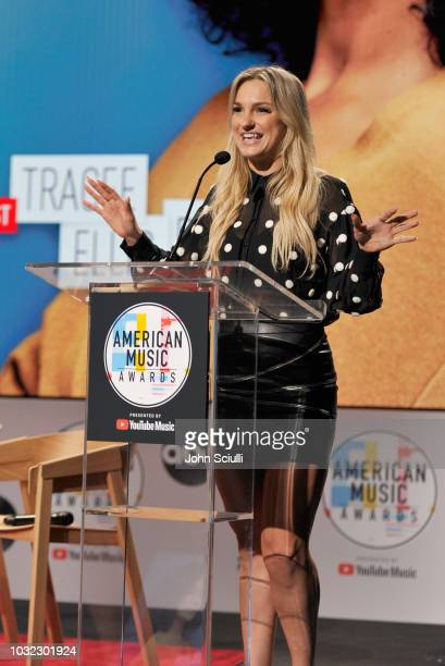 Chelsea Briggs speaks onstage during The 2018 American Music Awards Nominations at YouTube Space LA on September 12 2018 in Los Angeles California