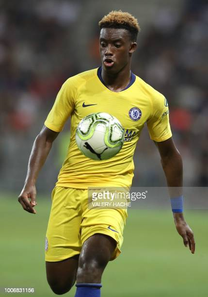 Chelsea Callum HudsonOdoi controls the ball during the friendly football match between Chelsea vs Inter Milan on July 28 2018 at the Allianz Riviera...