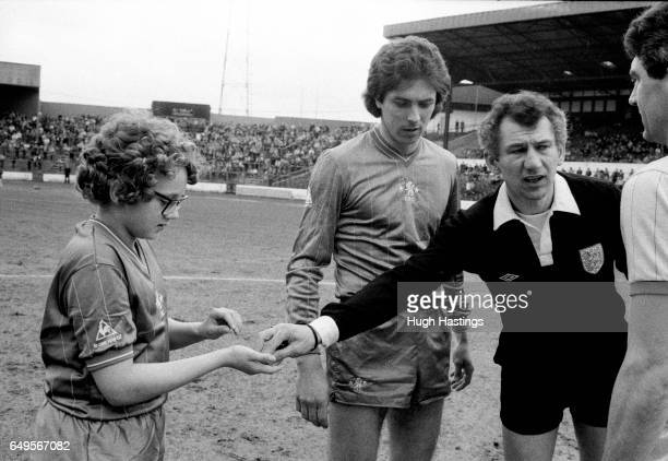 Chelsea captain Colin Lee with referee Mr D Letts and match day mascot before the Division Two game between Chelsea and Blackburn Rovers Chelsea won...