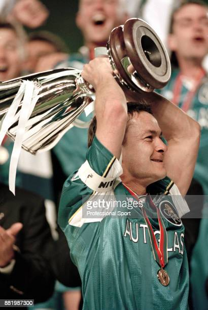Chelsea captain Dennis Wise celebrates lifting the trophy after his team won the European Cup Winners' Cup against VfB Stuttgart at the Rasunda...