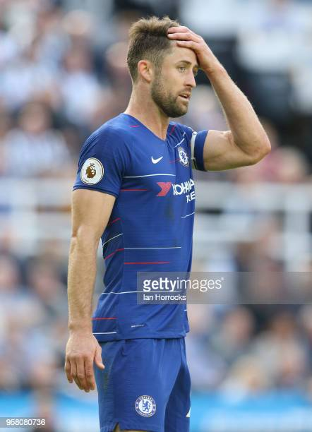 Chelsea captain Gary Cahill during the Premier League match between Newcastle United and Chelsea at St James Park on May 13 2018 in Newcastle upon...
