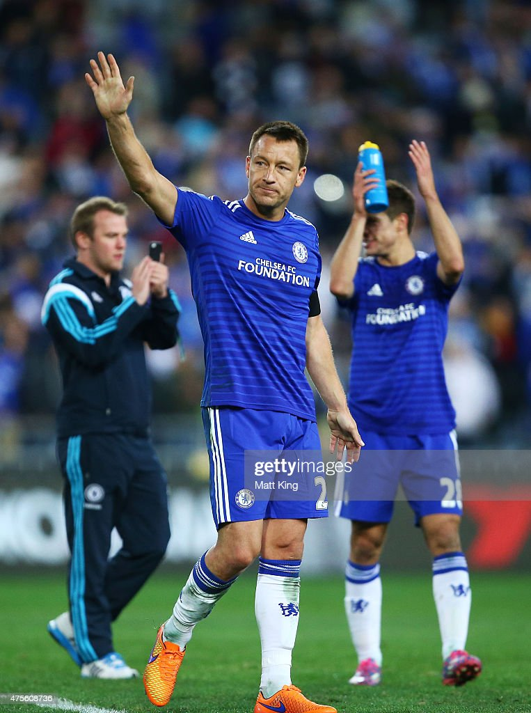 Chelsea captain John Terry acknowledges fans after the international friendly match between Sydney FC and Chelsea FC at ANZ Stadium on June 2, 2015 in Sydney, Australia.