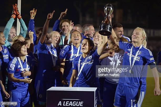 Chelsea captain Katie Chapman and team mates with the FA WSL trophy after the FA WSL match between Chelsea Ladies FC and Sunderland AFC Ladies on...