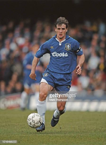Chelsea captain Mark Hughes in action during a Premier League match against Leicester City at Stamford Bridge on April 19 1997 in London England