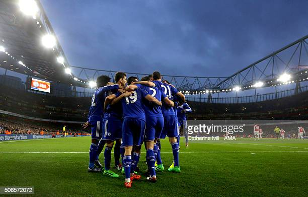 Chelsea celebrate after Diego Costa of Chelsea scores to make it 01 during the Barclays Premier League match between Arsenal and Chelsea at the...