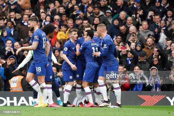 Chelsea celebrate their opening goal during the Premier League match between Chelsea FC and Everton FC at Stamford Bridge on March 8 2020 in London...