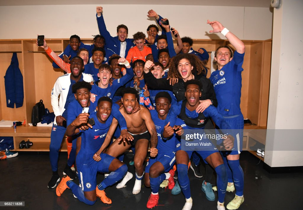Chelsea celebrate their victory following the FA Youth Cup Final second leg between Chelsea and Arsenal at Emirates Stadium on April 30, 2018 in London, England.