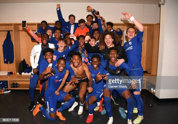 Chelsea celebrate their victory following the FA Youth Cup Final second leg between Chelsea and Arsenal at Emirates Stadium on April 30, 2018 in...