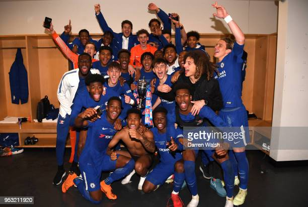 Chelsea celebrate their victory following the FA Youth Cup Final second leg between Chelsea and Arsenal at Emirates Stadium on April 30 2018 in...
