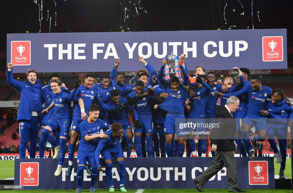 Chelsea celebrate victory following the FA Youth Cup Final second leg between Chelsea and Arsenal at Emirates Stadium on April 30, 2018 in London, England.