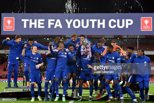 Chelsea celebrate victory following the FA Youth Cup Final second leg between Chelsea and Arsenal at Emirates Stadium on April 30, 2018 in London,...