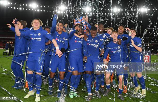 Chelsea celebrate victory following the FA Youth Cup Final second leg between Chelsea and Arsenal at Emirates Stadium on April 30 2018 in London...