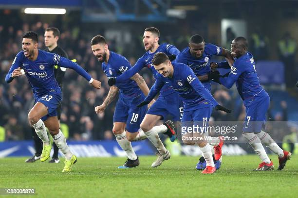 Chelsea celebrate winning on penalties during the Carabao Cup Semi-Final Second Leg match between Chelsea and Tottenham Hotspur at Stamford Bridge on...