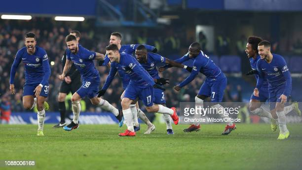 Chelsea celebrate winning on penalties during the Carabao Cup SemiFinal Second Leg match between Chelsea and Tottenham Hotspur at Stamford Bridge on...