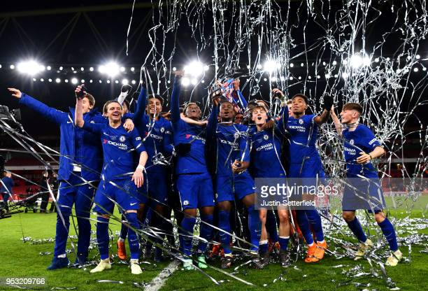 Chelsea celebrate winning the FA Youth Cup Final after the FA Youth Cup Final Second Leg between Chelsea and Arsenal at Emirates Stadium on April 30...