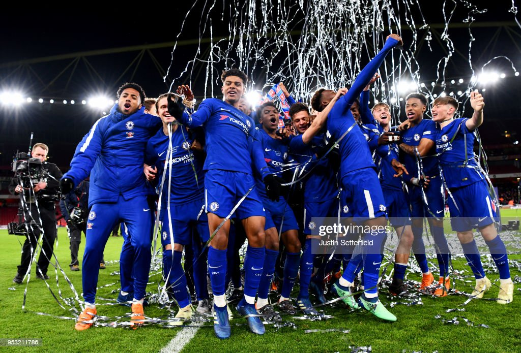 Chelsea celebrate winning the FA Youth Cup Final after the FA Youth Cup Final: Second Leg between Chelsea and Arsenal at Emirates Stadium on April 30, 2018 in London, England.