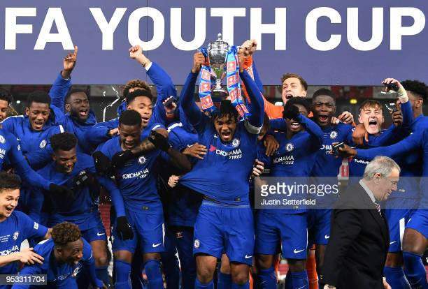Chelsea celebrate winning the FA Youth Cup Final: Second Leg between Chelsea and Arsenal at Emirates Stadium on April 30, 2018 in London, England.
