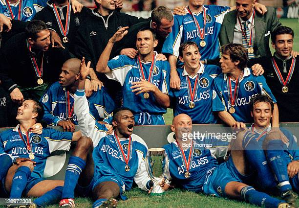 Chelsea celebrate with the trophy after their victory over Real Madrid in the UEFA Super Cup Final in Monaco 28th August 1998 Chelsea won 10 Players...