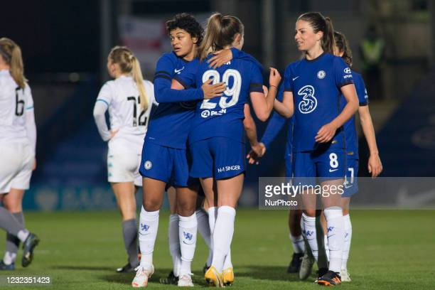Chelsea celebrates after win during the 2020-21 FA Womens Cup fixture between Chelsea FC and London City at Kingsmeadow on April 16, 2021 in Kingston...