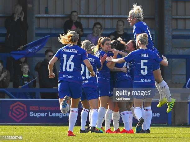Chelsea celebration after Behany England's goalduring the SSE Women's FA Cup 5th Round football match between Chelsea Women and Arsenal Women at The...
