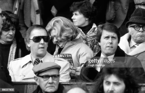 Chelsea chairman Brian Mears and manager Geoff Hurst sit in the stands during the English Division Two match between Charlton Athletic and Chelsea...