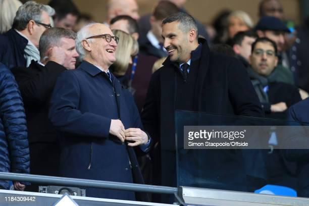 Chelsea Chairman Bruce Buck laughs with Man City chairman Khaldoon Al Mubarak before the Premier League match between Manchester City and Chelsea FC...