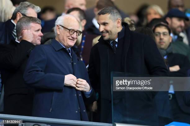Chelsea Chairman Bruce Buck speaks to Man City chairman Khaldoon Al Mubarak before the Premier League match between Manchester City and Chelsea FC at...