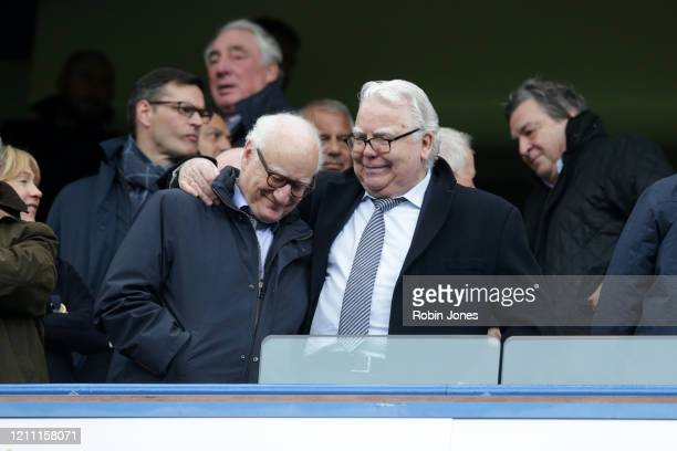 Chelsea Chairman Bruce Buck with Everton Chairman Bill Kenwright chat during the Premier League match between Chelsea FC and Everton FC at Stamford...