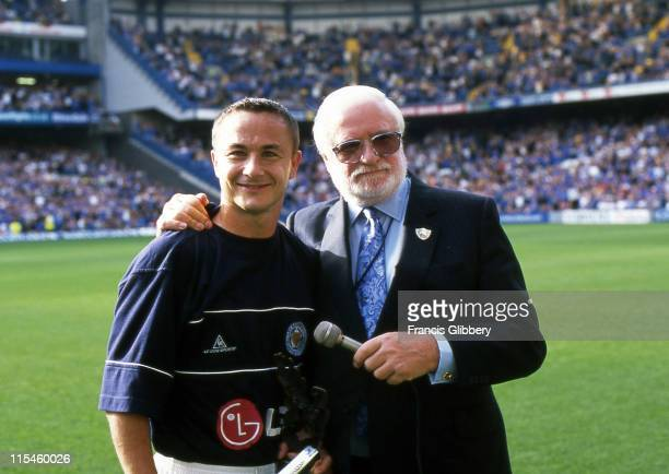 Chelsea chairman Ken Bates presents a longservice award to former Chelsea player Dennis Wise of Leicester City prior to kickoff before the FA...