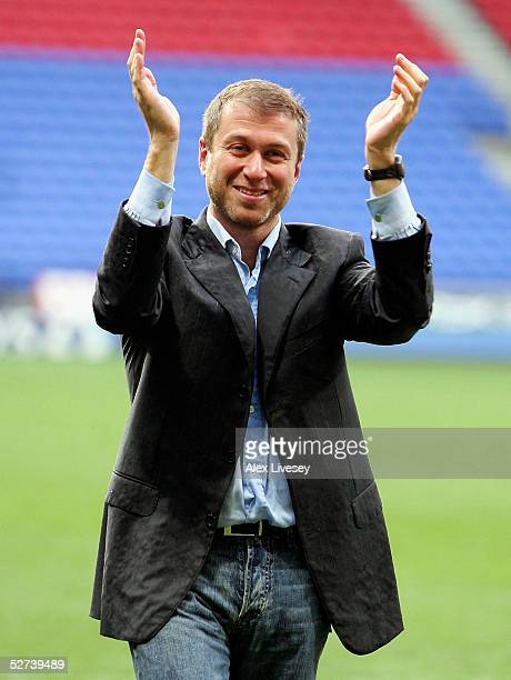 Chelsea Chairman, Roman Abramovich celebrates winning the Premiership after victory over Bolton Wanderers in the Barclays Premiership match between...