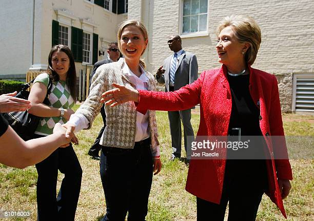 Chelsea Clinton and her mother Democratic presidential hopeful US Senator Hillary Clinton greet people at Shepherd University McMurran Hall May 7 in...