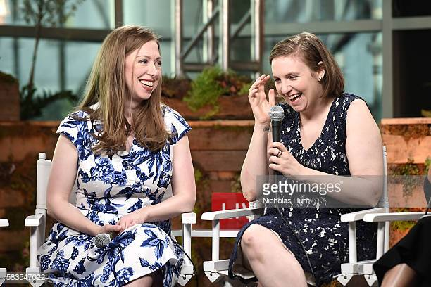 Chelsea Clinton and Lena Dunham speak at the Glamour And Facebook Host Conversation With Cindi Leive Chelsea Clinton Lena Dunham America Ferrera At...