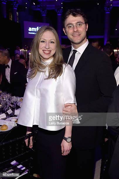 Chelsea Clinton and Marc Mezvinsky attend the 2015 amfAR New York Gala at Cipriani Wall Street on February 11 2015 in New York City