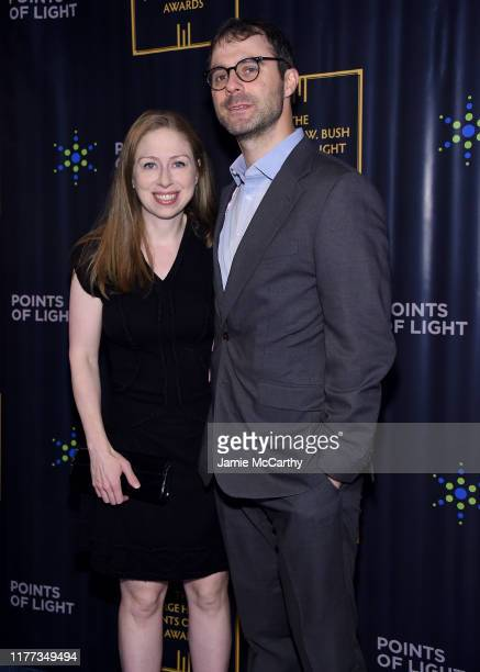 Chelsea Clinton and Marc Mezvinsky attend The George HW Bush Points Of Light Awards Gala at Intrepid SeaAirSpace Museum on September 26 2019 in New...