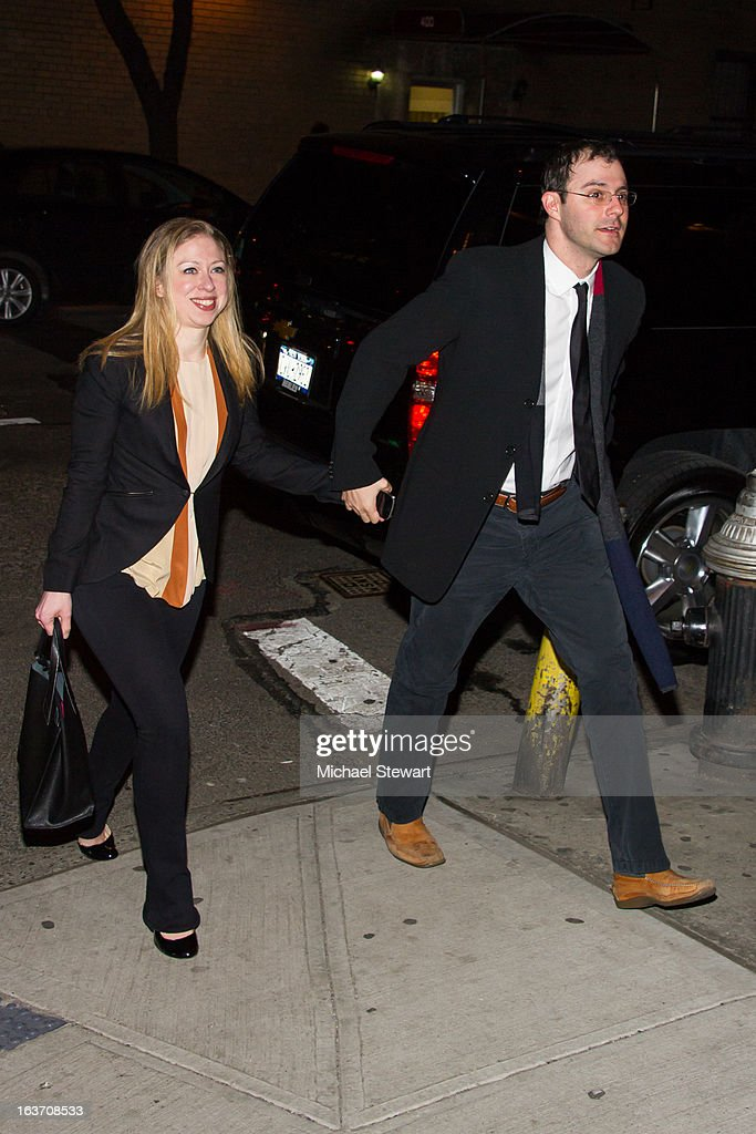 Chelsea Clinton (L) and Marc Mezvinsky attend Timbaland's Birthday Celebration at Southern Hospitality on March 14, 2013 in New York City.