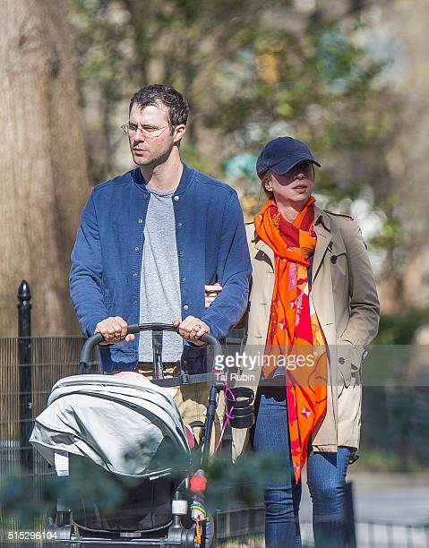 Chelsea Clinton and Marc Mezvinsky with daughter Charlotte Mezvinsky are seen on March 12 2016 in New York City