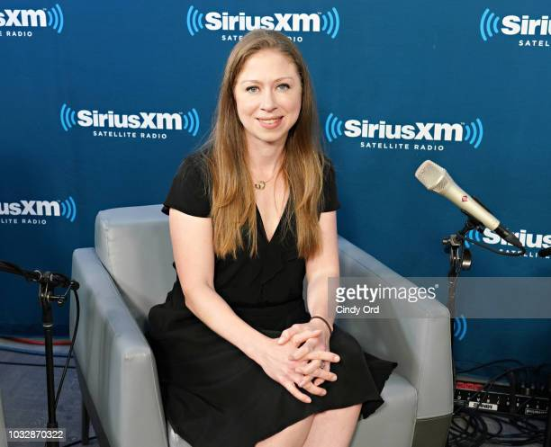 Chelsea Clinton and Nancy Northup in converation with SiriusXM hosts Zerlina Maxwell and Jess McIntosh at the SiriusXM Studio on September 13 2018 in...
