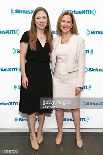 Chelsea Clinton and Nancy Northup pose backstage during their conversation with SiriusXM hosts Zerlina Maxwell and Jess McIntosh at the SiriusXM...
