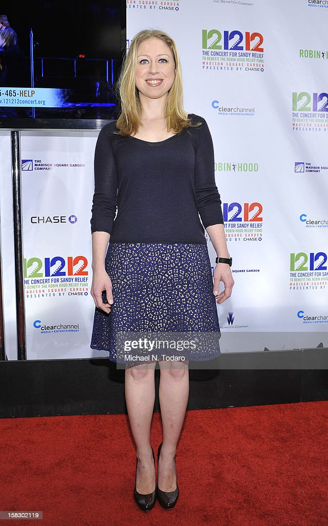 Chelsea Clinton attends 12-12-12 the Concert for Sandy Relief at Madison Square Garden on December 12, 2012 in New York City.