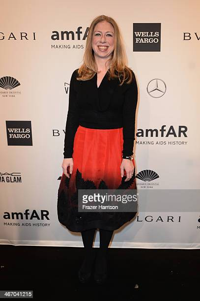 Chelsea Clinton attends the 2014 amfAR New York Gala at Cipriani Wall Street on February 5 2014 in New York City