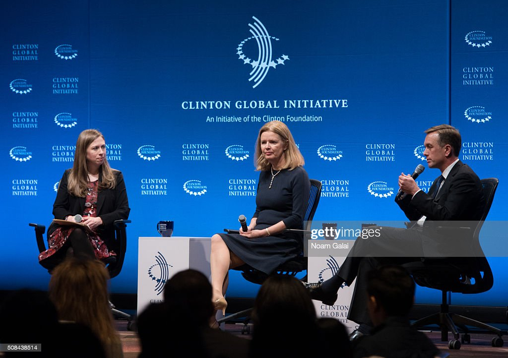 Chelsea Clinton, Barbara Byrne and Tim Murphy speak at The Clinton Global Initiative Winter Meeting at Sheraton New York Times Square on February 4, 2016 in New York City.