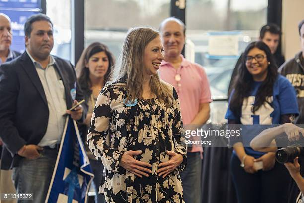 Chelsea Clinton daughter of 2016 Democratic presidential candidate Hillary Clinton arrives at a campaign event at a campaign office in Las Vegas...