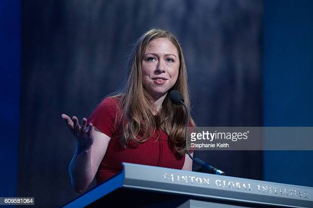 Chelsea Clinton delivers a speech during the annual Clinton Global Initiative on September 21 2016 in New York City Former President Bill Clinton...