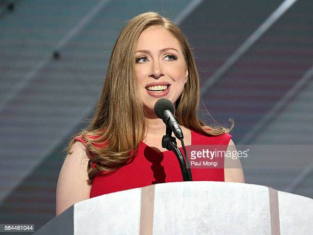 Chelsea Clinton delivers remarks on the fourth day of the Democratic National Convention at the Wells Fargo Center on July 28 2016 in Philadelphia...