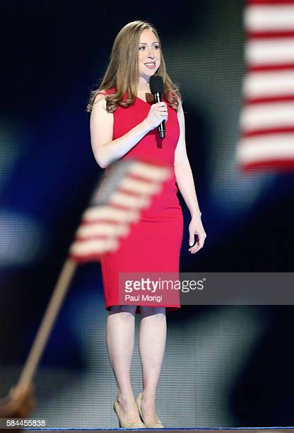 Chelsea Clinton delivers some remarks on the fourth day of the Democratic National Convention at the Wells Fargo Center on July 28 2016 in...