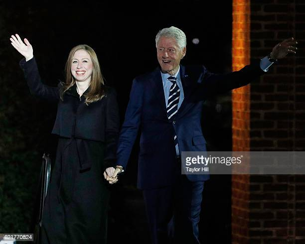 Chelsea Clinton introduces Bill Clinton at The Night Before rally at Independence Hall on November 7 2016 in Philadelphia Pennsylvania